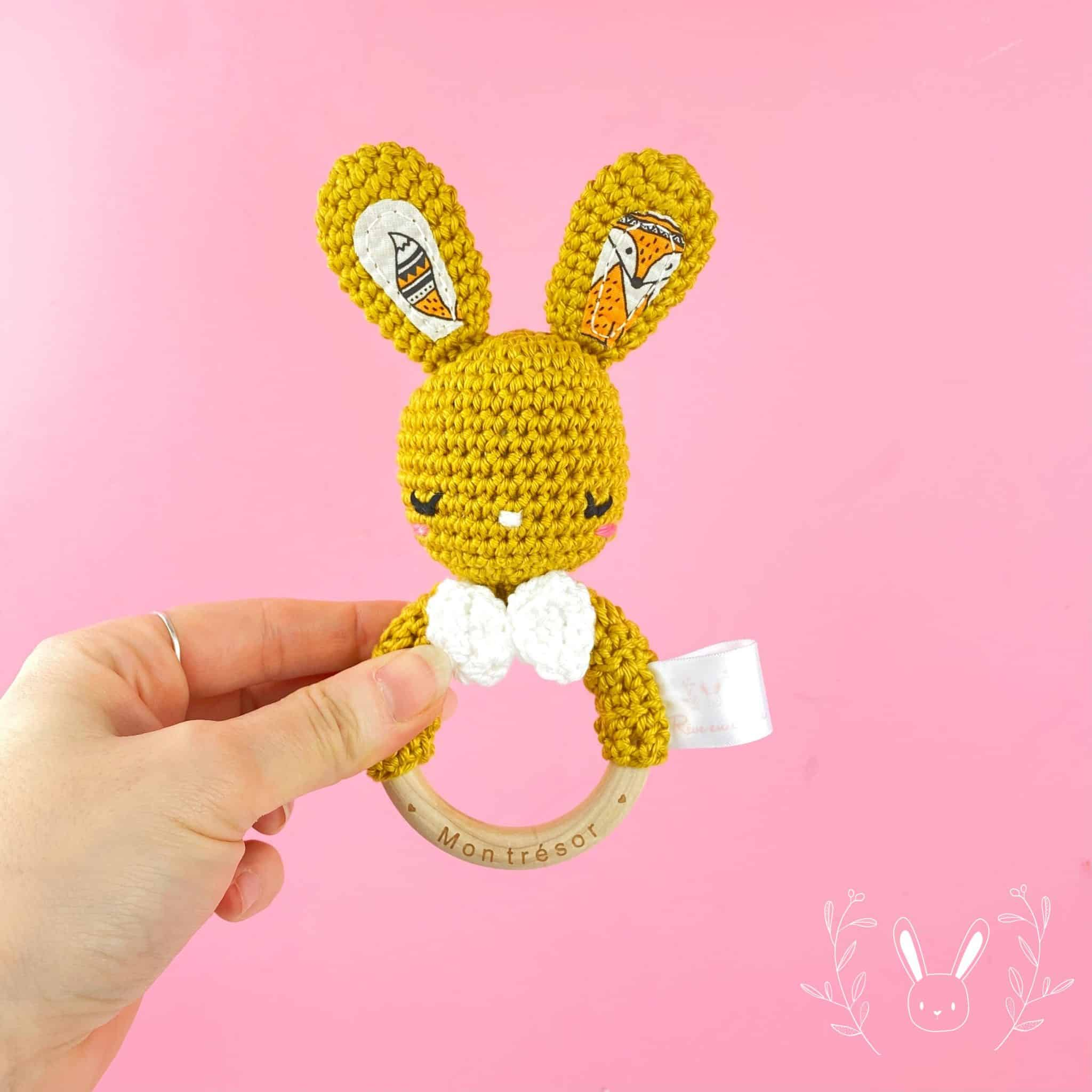 Hochet Lapin moutarde