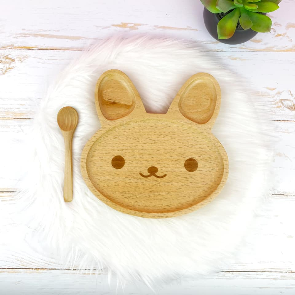 assiette lapin en bois